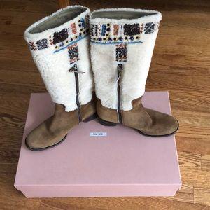 Miu Miu shearling beaded suede boots